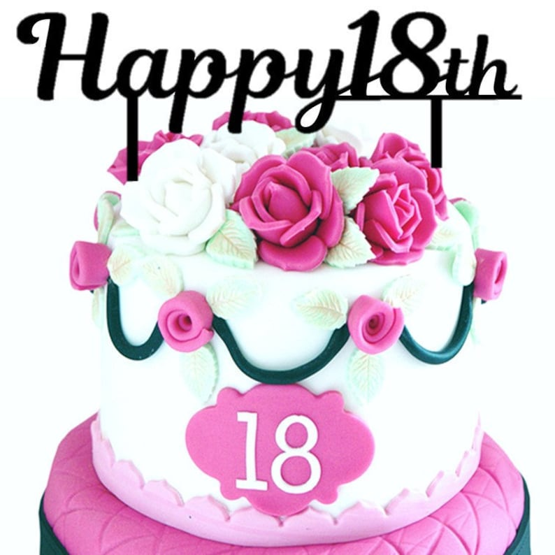 Happy 18th Birthday Cake Topper Party Decoration Supply Gold