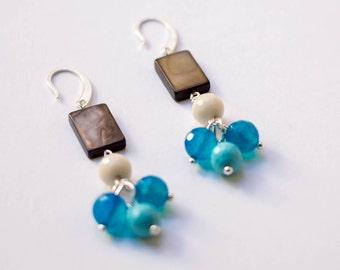 Earrings Brown, blue and beige