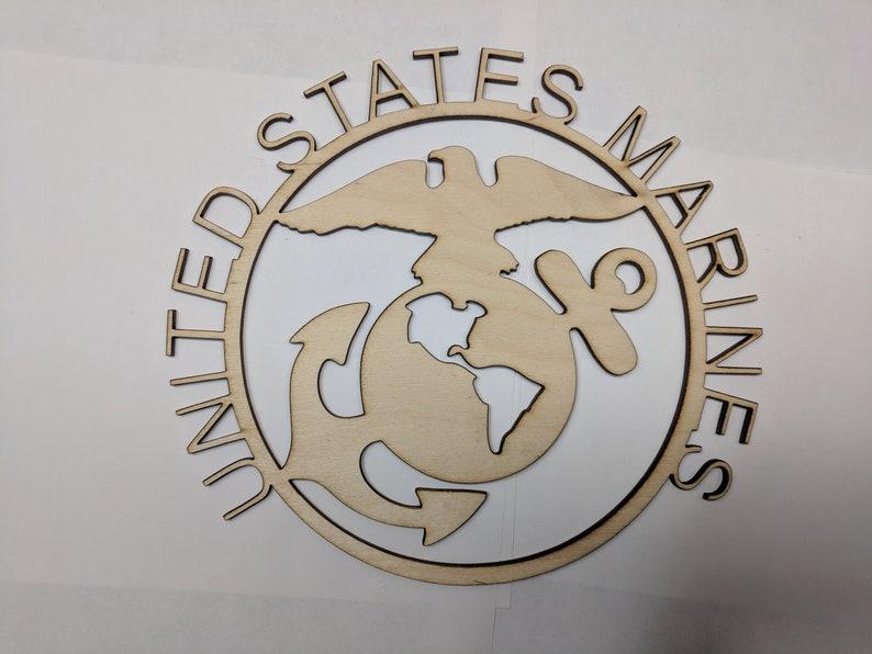 US Marines USMC wall art laser cut sign gift idea army unfinished wood  crafts supplies us USMC Design 2