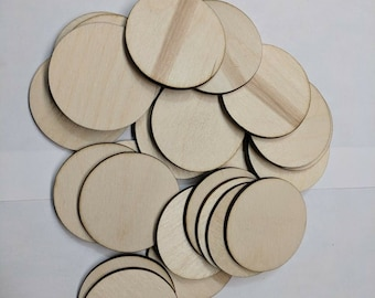 """Choose Size and Qty - .25"""" to 2.875"""" - Wooden craft Circles, DIY craft supplies wood Circles, wood shapes round Disc Blank cutout slices"""