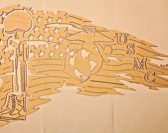 "Tattered american flag usmc wood art home decor patriotic 22"" x 14"" unfinished."