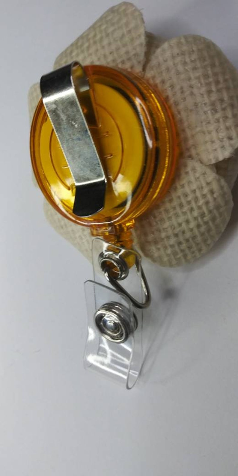 Neutral color badge holder Beige color badge holder Natural badge holder Burlap badge holder Id badge holder Flower badge Badge reel