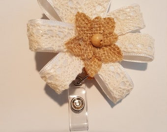 Lace and burlap badge holder