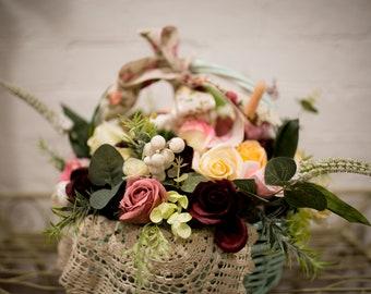 Soap Flowers in vintage theme basket - Unique Christmas gift idea. It's hard to believe it's soap!