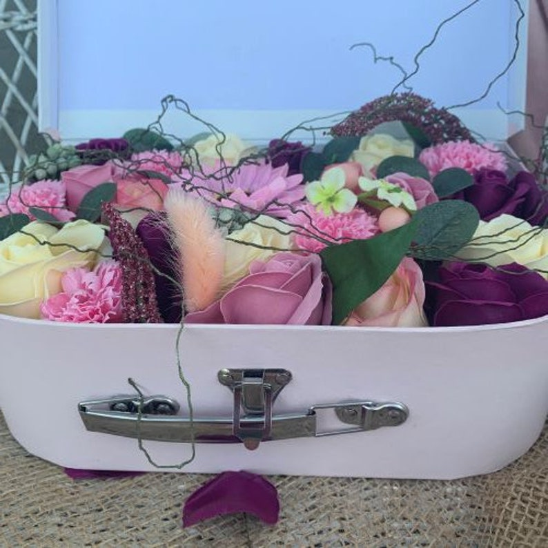 Soap Flowers in a pink suitcase  one petal one hand wash image 0