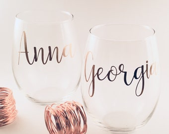 Personalised Wine Glass Decals wedding stickers bridesmaid proposal gift name stickers for glass wedding maid of honour proposal name decals