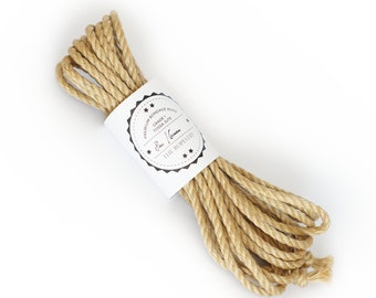 B-stock jute ropes in various diameters and lengths, oiled and flamed Shibari rope made in Germany with small faults