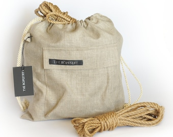 Linen bag for rope storage with carabiner pocket, hanger and drawstrings, rope pouch for storing jute ropes for bondage