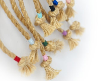 Customised rope ends - Colourful cotton markers for jute ropes for bondage, the individual touch for your rope