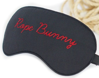 "Black cotton eye mask with embroidery ""Rope Bunny"", Unisex, sleep mask"