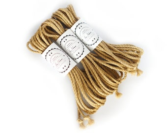B-Stock Jute rope set 3x 26ft, ∅0.20in /3x 8m dia. 5mm, skinfriendly ready-to-use Shibari Kinbaku Bondage rope