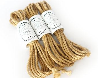 Jute rope set 3x 20ft, ∅ 0.22in /3x 6m dia. 5.5mm, skinfriendly ready-to-use Shibari Kinbaku Bondage rope