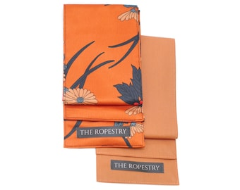 """Blindfold multipack """"Tangerine Flowers"""", cotton & satin mix, soft eye cover, erotic adult play accessory"""