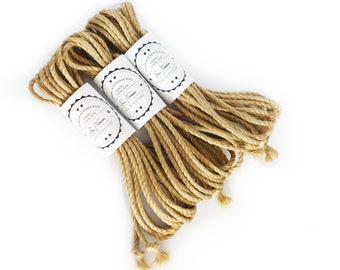 Shibari jute rope 3x 26ft, ∅ 0.20in /3x 8m dia. 5mm ready-to-use natural jute rope, oiled and flamed