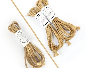 Shibari jute rope 13ft, ∅0.24in /4m dia. 6mm, ready-to-use natural jute rope for bondage, shibari and kinbaku