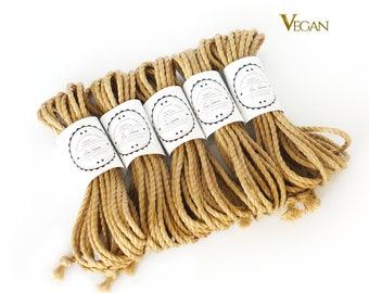 VEGAN Jute rope set 5x 26ft, ∅0.24in /5x 8m dia. 6mm, ready-to-use natural jute rope for bondage, shibari and kinbaku