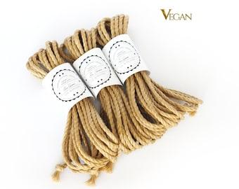 VEGAN Jute rope set 3x 26ft, ∅0.24in /3x 8m dia. 6mm, ready-to-use natural jute rope for bondage, shibari and kinbaku