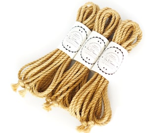 Shibari jute rope 3x 26ft, ∅ 0.22in /3x 8m dia. 5.5mm ready-to-use natural jute rope, oiled and flamed