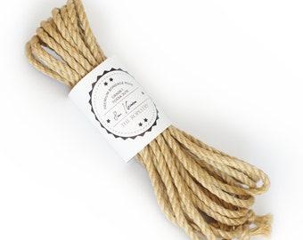 Shibari jute rope 1x 26ft, ∅0.24in /1x 8m dia. 6mm, ready-to-use natural jute rope for bondage, shibari and kinbaku