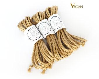 B-Stock VEGAN Jute rope set 3x 26ft, ∅0.24in /3x 8m dia. 6mm, ready-to-use natural jute rope for bondage, shibari and kinbaku
