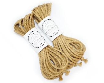 Jute rope set 2x 33ft, ∅0.24in /2x 10m dia. 6mm, ready-to-use natural jute rope for bondage, shibari and kinbaku