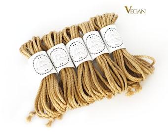 B-Stock VEGAN Jute rope set 5x 26ft, ∅0.24in /5x 8m dia. 6mm, ready-to-use natural jute rope for bondage, shibari and kinbaku
