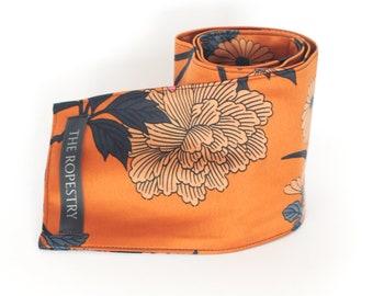 Satin blindfold, four-ply, handmade from flowerprinted satin in terracotta, light brown, raspberry, blue and black