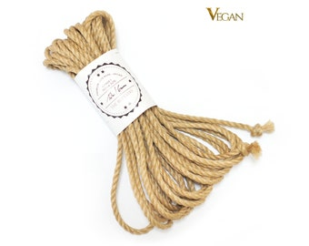 Shibari jute rope 1x 39ft, ∅0.24in /1x 12m dia. 6mm, VEGAN, ready-to-use natural jute rope for bondage, shibari and kinbaku