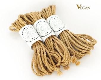 B-Stock VEGAN Jute rope set 3x 26ft, ∅0.22in /3x 8m dia. 5.5mm, ready-to-use natural jute rope for bondage, shibari and kinbaku