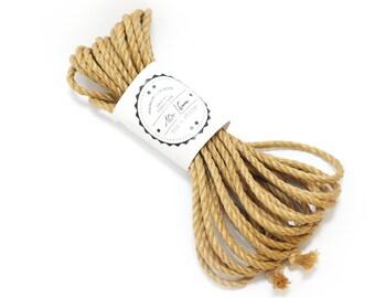 Shibari jute rope 1x 33ft, ∅0.24in /1x 10m dia. 6mm, ready-to-use natural jute rope for bondage, shibari and kinbaku