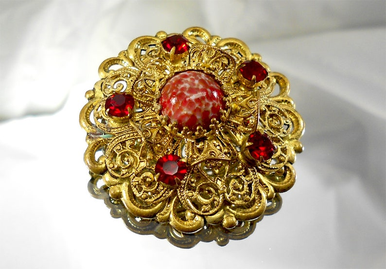 Filigree Vintage brooches 1950s  Soviet brooch Vintage brooch  Round  brooch  Brooch with cherry stones Collection brooch  Made in the USSR