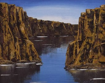 Original Abstract Landscape, Painting, Cliff Faces, Art