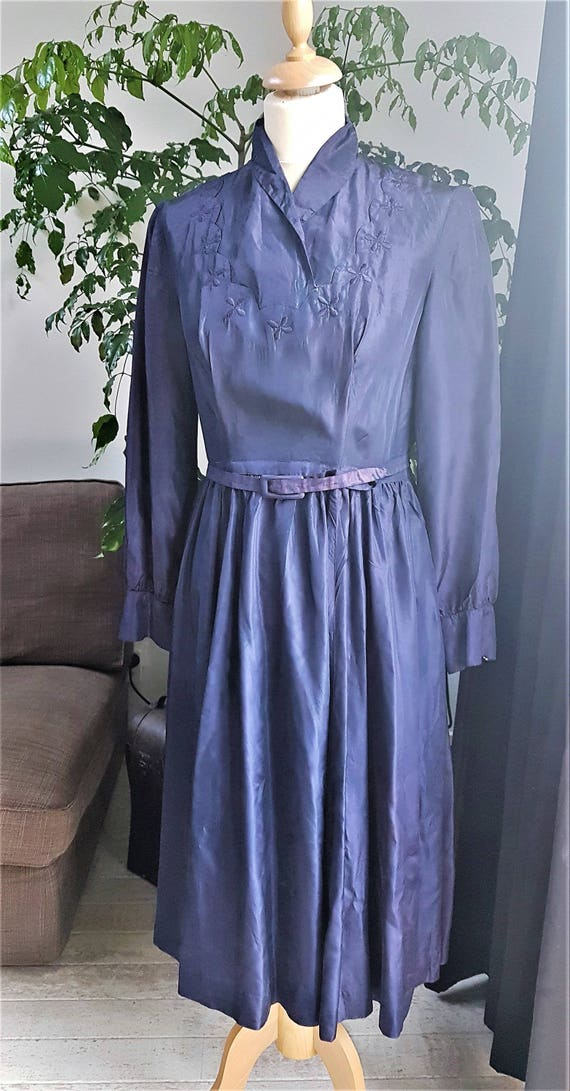 Vintage Cobalt Blue 30s/40s Taffeta Dress
