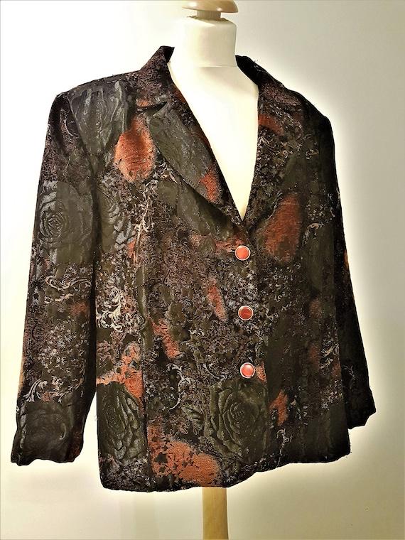 "Vintage ""Oversized"" Jacquard woven Brocade Blazer"