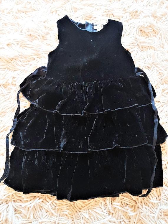 Black Crushed velvet Party Dress (Child)