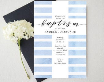 Boy Baptism Invitation Christening Blue Watercolor Printable Custom
