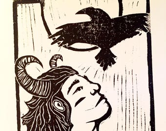 Close to the Sun--Hand-Printed Linocut