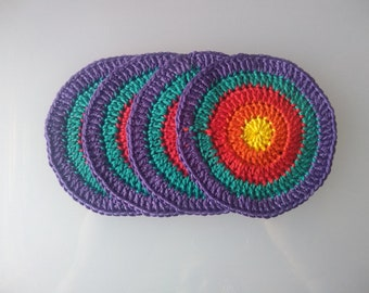 Lovely Set of 4 Festival Inspired Handmade Crocheted Coasters. 100% Cotton.