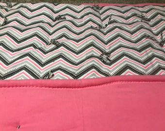 Girl's Pink and Gray Chevron Quilt