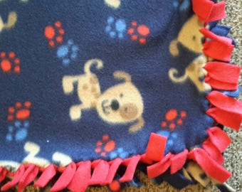 Red and blue puppy blanket