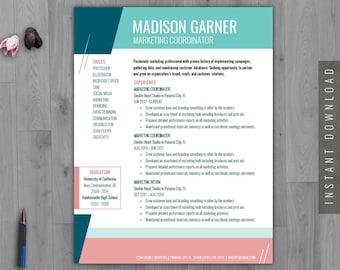 colorful resume etsy