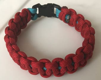 Red and Blue Paracord Survival Bracelet
