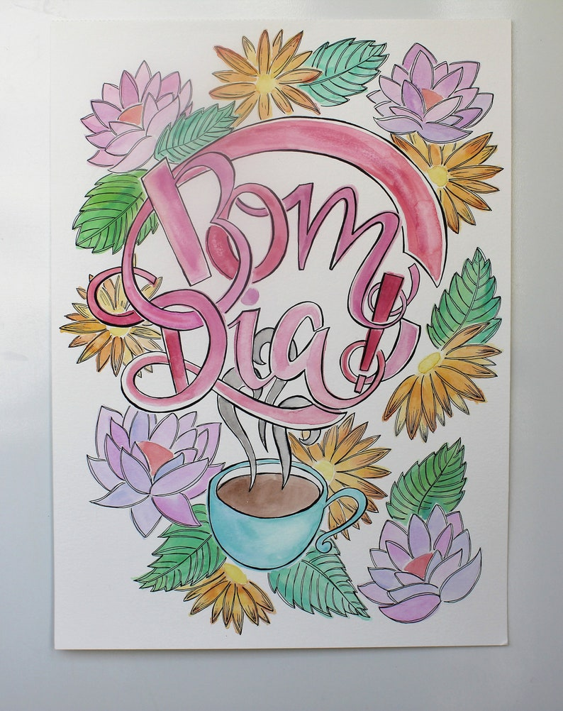 Bom Dia Wall Art Illustration Portuguese Good Morning Etsy