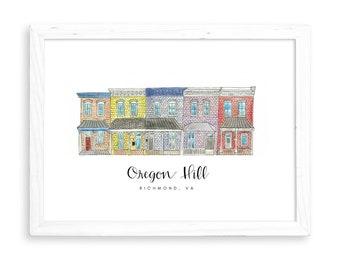 Oregon Hill Print | Richmond, Virginia Watercolors The Fan Carytown Shockoe Bottom Churchill Laurel Street VCU Virginia Commonwealth RVA VCU