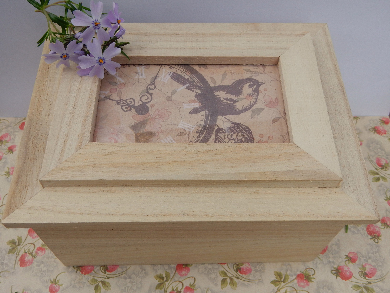 Unbehandeltes Holz Bilderrahmen Box 6.5x5x3.5 Holz-Box mit | Etsy