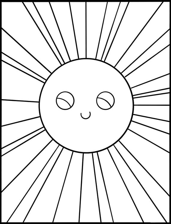 Kids Coloring Page Download Happy Cute Sun Printable Coloring Etsy