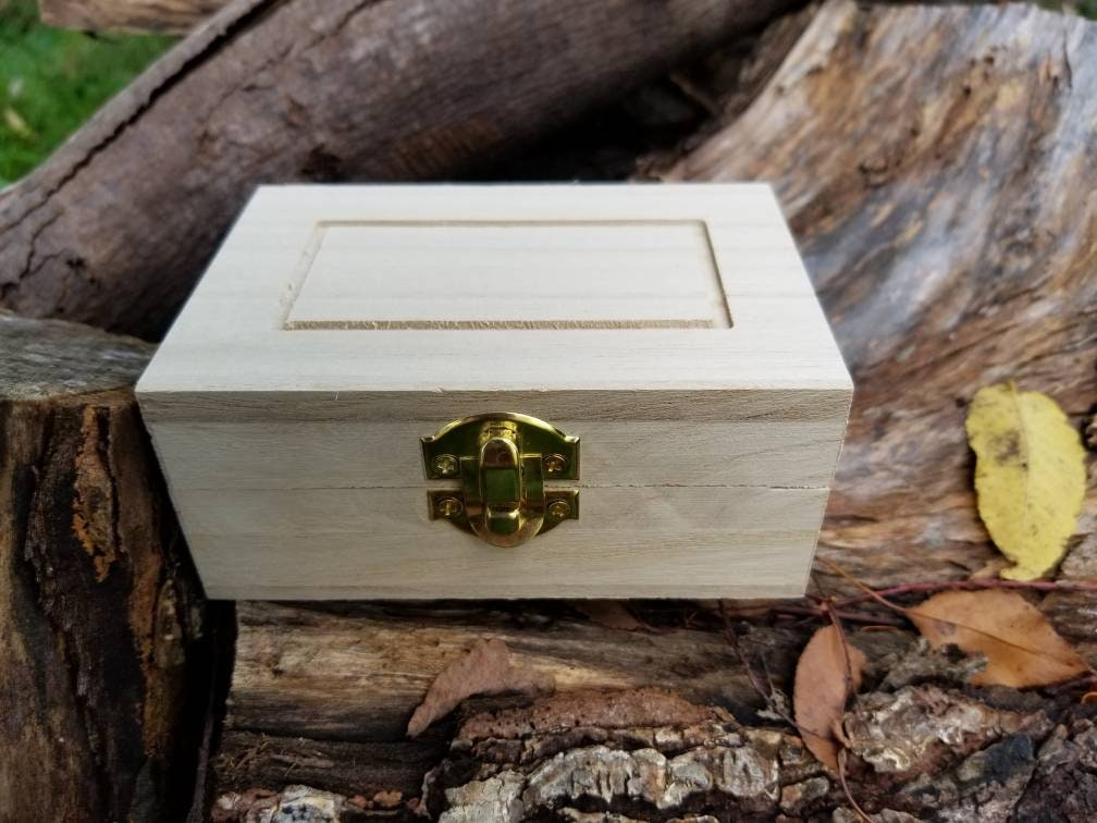 Unfinished Wood Box With Hinged Lid 475x3x2 Plain Wooden Box Etsy