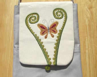 Butterfly and Fiddlehead Handbag