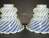 Fenton Swirl White Opalescent Lamp Shades Set Free Shipping