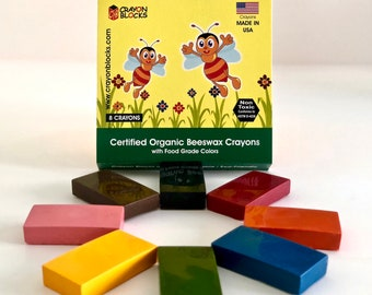 Certified Organic Beeswax Crayon Blocks with FDA Approved Food Grade Colors Handcrafted in USA